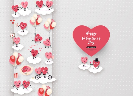 Happy Valentines Day festive design. 3d paper cut animated couples of loving hearts, clouds, air, space for text. Love story, funny romantic symbols in different situations, vector