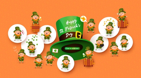 Patricks Day background with funny leprechauns, green beer, Patricks Hat, barrel, mug, pipe, coins, pot of gold. Festive advertising banner in the colors of the flag of Ireland. Vector illustration Vetores