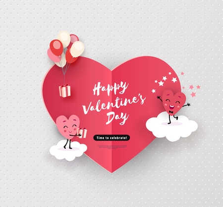 Happy Valentines day card, holiday background with cute animated hearts, minimal design, vector illustration