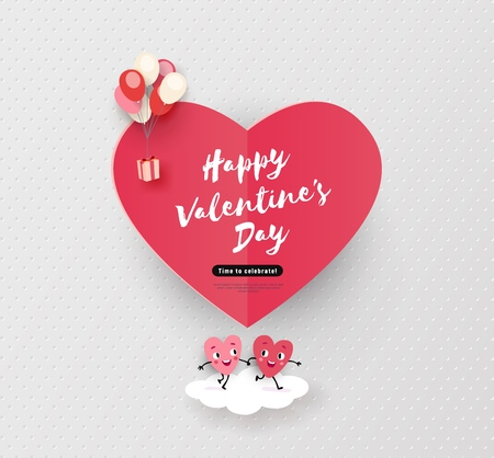 Happy Valentines day card, hearts run hand in hand, holiday background with cute animated hearts, minimal design, vector illustration