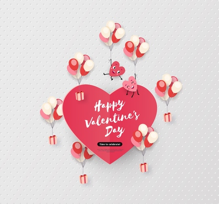 Happy Valentines day card, holiday background with cute animated hearts, minimal design, vector illustration Vetores