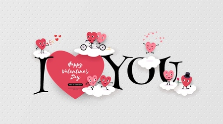 Happy Valentine's Day greeting card with a pair of animated hearts, inscription I love you. Romantic love story suitable for wedding, engagement, vector illustration