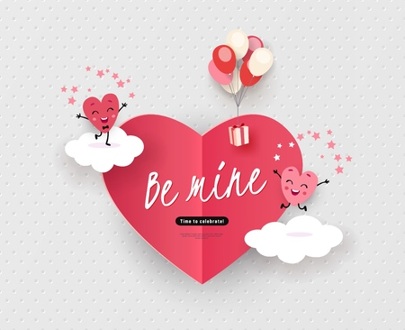 Be mine, Happy Valentine's Day greeting card with a pair of animated hearts, a love story, declaration of love. Romantic vector illustration suitable for wedding, engagement
