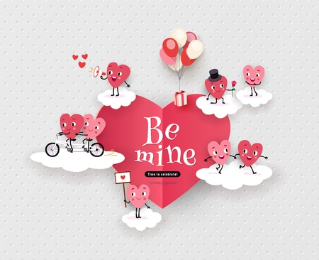 Be mine, Happy Valentine's Day greeting card with a pair of animated hearts, a love story, declaration of love. Romantic vector illustration suitable for wedding, engagement Vetores