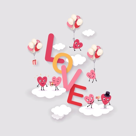 Love and Heart Background for Valentine's Day, Wedding, Engagement. Surround text with funny animated hearts on clouds, festive design, vector illustration