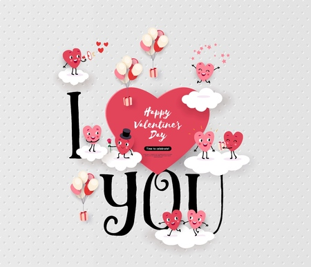 Happy Valentines Day greeting card with a pair of animated hearts, inscription I love you. Romantic love story suitable for wedding, engagement, vector illustration