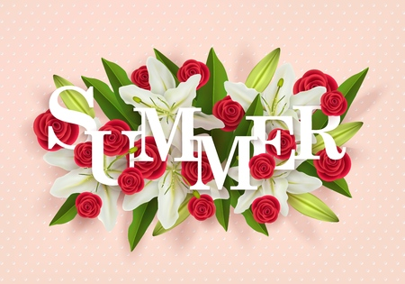 Summer design with a bouquet of colorful paper flowers, 3d vector illustration of white lilies and red roses on a gently coral background