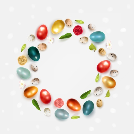 Creative Easter layout made of colorful realistic chicken eggs quail eggs flowers and leaves on white background. Circle wreath flat lay concept Vector illustration Illustration