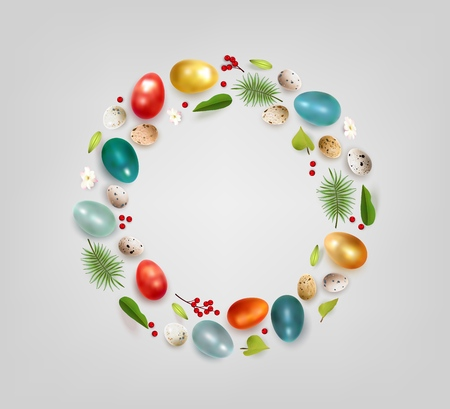 Creative Easter layout made of colorful realistic chicken eggs quail eggs flowers berry and leaves on white background. Circle wreath flat lay concept Vector illustration Imagens - 125643166