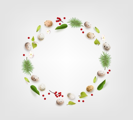 Creative Easter layout made of colorful realistic quail eggs flowers berry and leaves on white background Dietary product healthy diet Circle wreath flat lay concept Vector illustration Ilustração