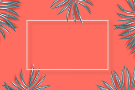 Vector tropical banner with silvery palm leaves on living coral backdrop. Exotic hawaiian jungle design, summertime background. Pastel minimal style