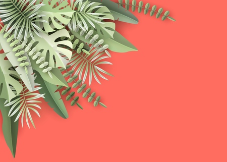Vector tropical banner with palm and monstera leaves on living coral backdrop.