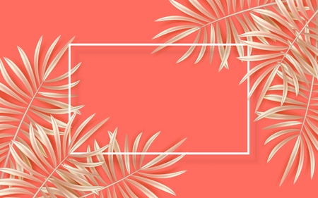 Vector tropical banner with golden palm leaves on living coral backdrop. Exotic hawaiian jungle design, summertime background. Pastel minimal style vector illustration
