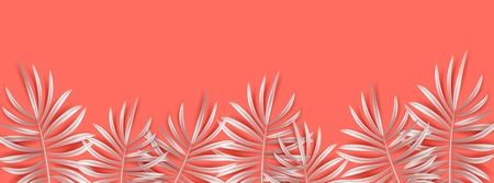 Vector tropical horizontal border with silvery palm leaves on living coral backdrop. Exotic hawaiian jungle design, summertime background. Pastel minimal style Illustration