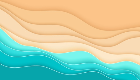 Olas del mar y playa tropical de arena, verano, telón de fondo abstracto en capas brillantes en estilo papercut para diseño publicitario y estacional, vista superior, recorte, ilustración vectorial Ilustración de vector
