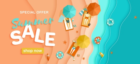 Summer sale, vector horizontal background with beach, sea waves, people sunbathing on sunbeds, parasols, lifebuoys, surfboards in paper cut style, top view Illustration