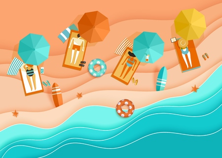 Beach top view background with sea waves, sand, sunbathing people, umbrella, deck chair, surfboard, starfish, ball, cocktail, beach sandals, lifebuoy papercut, paper craft aerial view vector