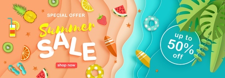 Summer sale, maritime vector background with a beach, sea waves, tropical leaves, fruits, lifebuoys, surfboards, text. Advertising horizontal banner in paper style cut top view