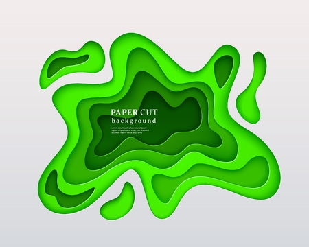 3d papercut style background. Green composition with a layered effect of flowing shapes with a shadow, carving art. Abstract paper cut design, vector illustration