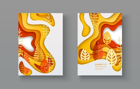 Set of autumn A4 banners with leaves inscribed in paper cut layered spot.