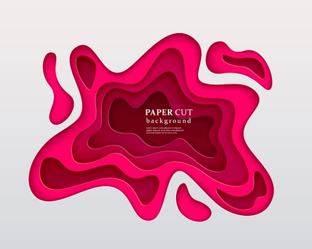 3d papercut style background. American rose composition with a layered effect of flowing shapes with a shadow, carving art. Abstract paper cut design, vector illustration