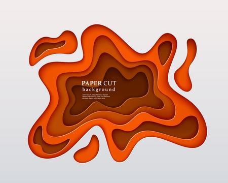 3d papercut style background. Orange composition with a layered effect of flowing shapes with a shadow, carving art. Abstract paper cut design, vector illustration