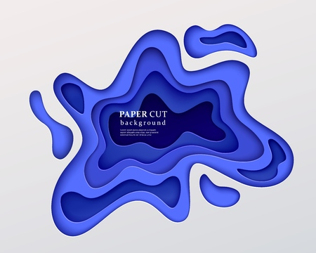 3d paper cut style background. Dark blue composition with a layered effect of flowing shapes with a shadow, carving art. Abstract papercut design, vector illustration 向量圖像
