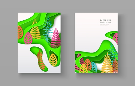 Set of seasonal banners with layered shapes and colorful leaves in paper cut style. The color palette is suitable for spring, summer, autumn. Effect of 3D in papercraft art. A4 size, vector 向量圖像