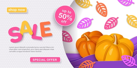 Thanksgiving sale, Autumn sale. Bright advertising banner with pumpkin, colorful leaves, layered texture in the style of paper cut