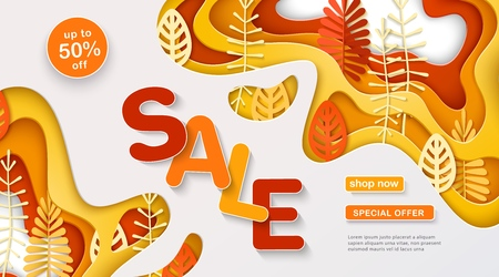 Autumn sale banner with multi layered shapes and leaves in paper cut style. Yellow, orange, red, white color palette. The effect of 3D in papercraft art. Vector