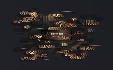 Black paper cut abstract  with geometric paper shapes in memphis style with sparkling golden halftone pattern and golden curved lines can be used for the design of Black Friday sale Иллюстрация