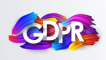 Gdpr, inscription on the background of colorful brushstrokes of oil or acrylic paint. Text with a gradient brush isolated on white background, creative design element, vector illustration