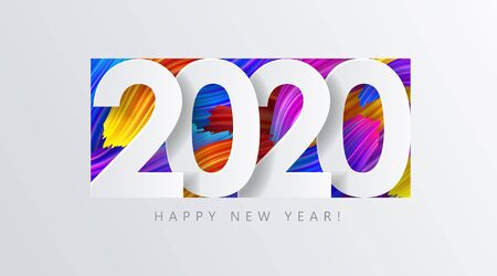 2020 New Year on the  of colorful brushstrokes of oil or acrylic paint with a gradient brush, creative New Year design element isolated on white