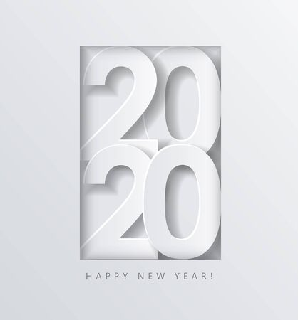 2020 Happy New Year, creative date design, white volumetric numbers on a white  in a frame