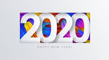 2020 New Year on the  of colorful brushstrokes of oil or acrylic paint with a gradient brush Vectores