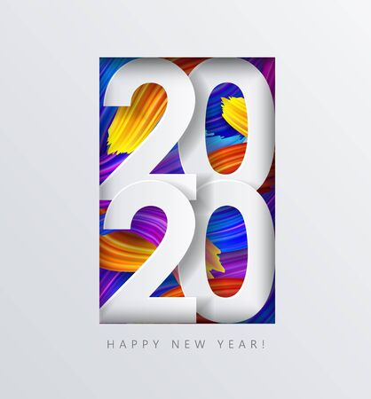 2020 New Year on the  of colorful brushstrokes of oil or acrylic paint with a gradient brush 일러스트