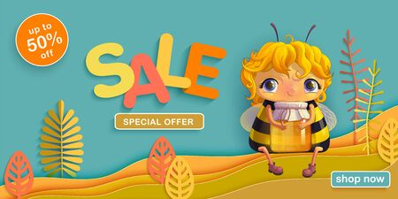Summer sale autumn discounts. Funny bee with a jar of honey sitting in a meadow on the  of stylized plants.