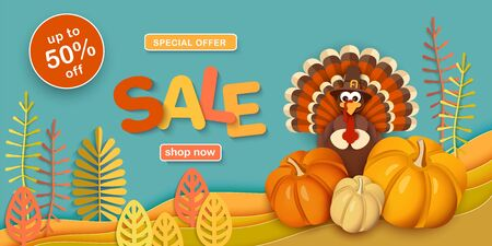 Thanksgiving, sale. Advertising banner with traditional turkey in a hat, pumpkins, autumn leaves in the style of paper cut. Иллюстрация