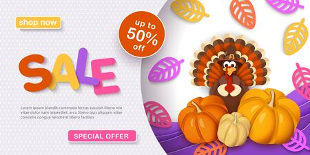 Thanksgiving, sale. Advertising banner with traditional turkey in a hat, pumpkins, autumn leaves in the style of paper cut. 일러스트