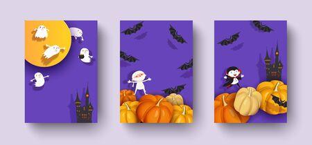 Happy Halloween 3d design, paper cut pumpkin, castle, medieval castle, vampire, mummy, bat, moon. 일러스트