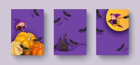 Happy Halloween 3d design, paper cut pumpkin, witch, vampire, bat, moon. 일러스트