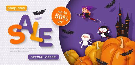 Halloween sale design. Horizontal 3d banner.