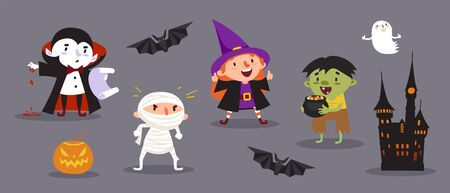 Happy Halloween, a set of cute characters for your festive design. 일러스트