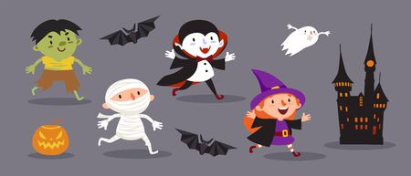 Happy Halloween, a set of cute characters for your festive design. Illustration