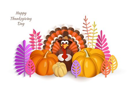 Thanksgiving Day. Advertising design with traditional turkey in a hat, pumpkins, autumn leaves in the style of papercut. Vector illustration iIsolated on white background 일러스트
