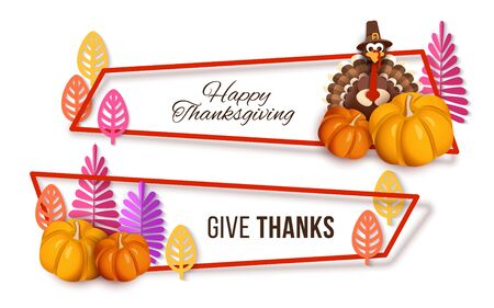 Happy thanksgiving banner, set of decorative holiday frames with turkey, pumpkin, stylized autumn leaves and plants.