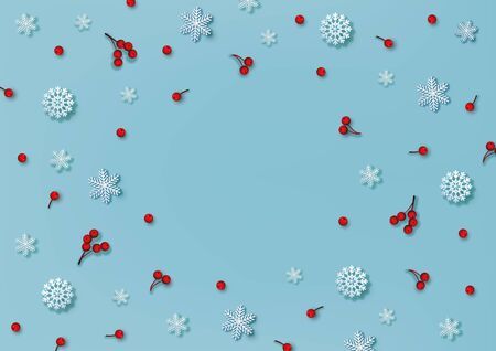 Christmas and New Year pattern made of decorative snowflakes and red holly berries on blue background. Winter concept. Flat lay. Vector illustration