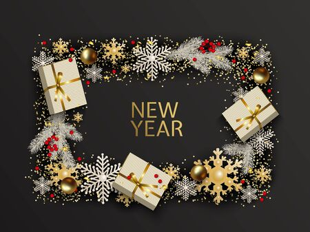 New Year and Christmas greeting card. 일러스트