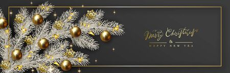 New Year and Christmas design, white Christmas tree branch decorated with realistic gold balls and golden confetti on black 일러스트
