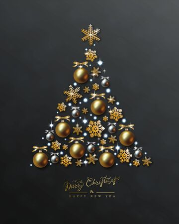 New Year card with a silhouette of Christmas tree made of golden snowflakes, balls and holiday lights on black